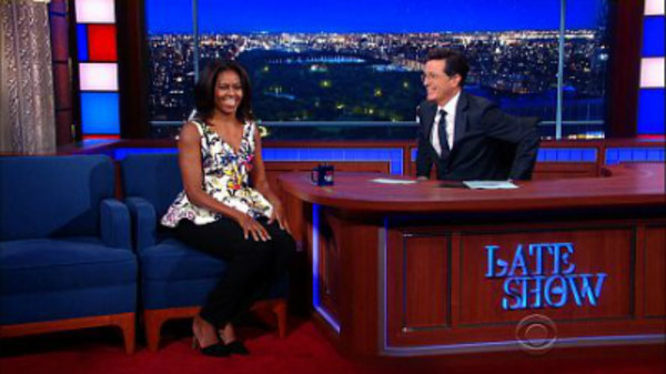 The Late Show with Stephen Colbert - S01E15 - First Lady Michelle Obama, John Legend